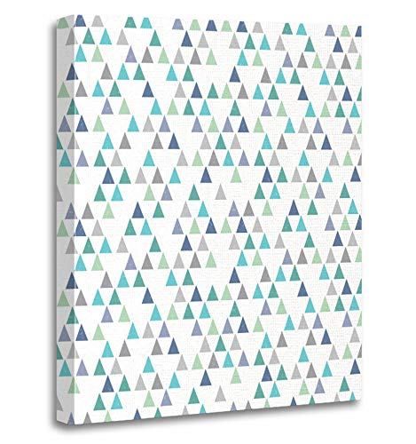 Emvency Painting Canvas Print Artwork Decorative Print Green Hipster Geometric with Mini Triangles in Aqua Blue Navy Mint and White Wooden Frame 20x30 inches Wall Art for Home (Framed Mini Gingham)