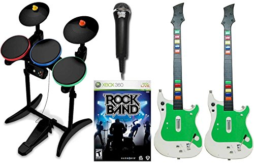Xbox 360 ROCK BAND 1 Video Game with 2 Wireless Guitars, Guitar Hero Wireless Drums and USB Microphone Bundle Set