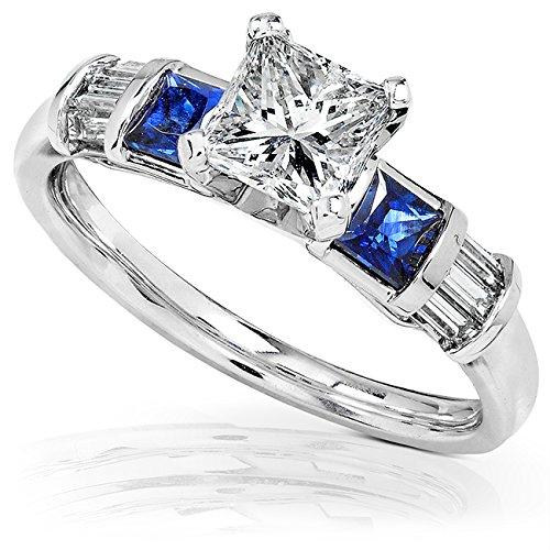 Blue Sapphire & Diamond Engagement Ring 1 2/5 carat (ctw) In 14k White Gold