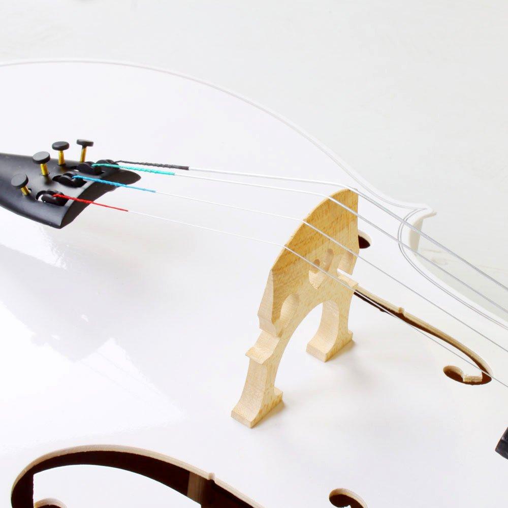 4/4 Acoustic Cello + Case + Bow + Rosin Wood Color Beautiful Varnish Finishing (White) by Lykos (Image #4)