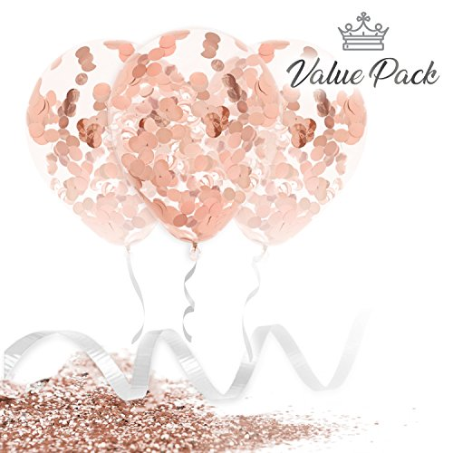 Marca Rose Gold Confetti Balloons | Large 18 Inch Premium Quality Latex | Elegant Foil Balloon Set with Ribbon and Extra Confetti | For Wedding, Birthday, Proposal, and Bridal Shower Decorations