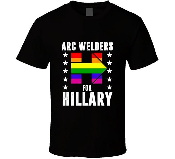 Arc soldador para Hillary Clinton LGBT apoyo 2016 elección T Shirt: Amazon.es: Ropa y accesorios