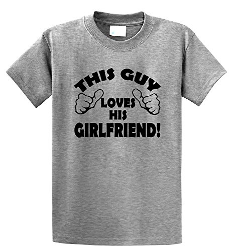 Comical Shirt Men's This Guy Loves His Girlfriend Valentine's Day Gift Sport Grey L
