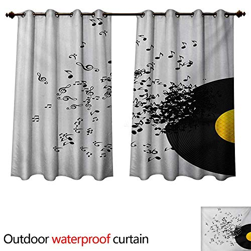 (WilliamsDecor Music Outdoor Ultraviolet Protective Curtains Abstract Design Flying Music Notes Disc Album Dancing Nightclub Print W72 x L72(183cm x 183cm))