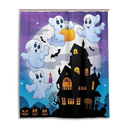 [Bath Shower Curtain 60x72 Inch,Happy Halloween Cute Ghost Spooky Cemetery Bat Pumpkin Witch Spiderweb Design 139,Waterproof Polyester Fabric Bathroom] (Cute Halloween Ghost Clip Art)
