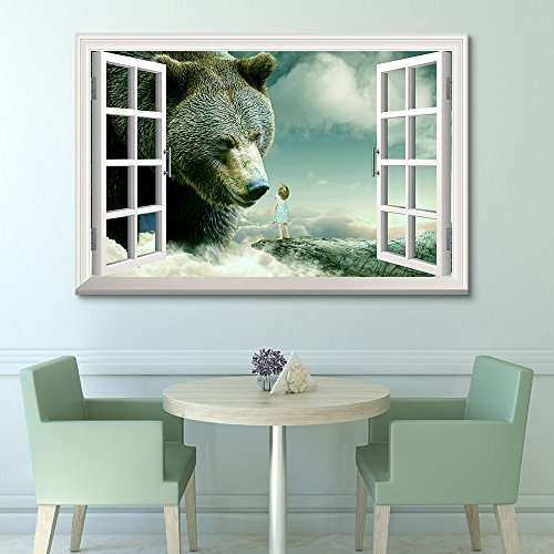 Window View Mystical Style Gigantic Bear with Little Girl