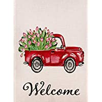 Dyrenson Decorative Love Valentine's Day Small Garden Flag Tulips Flower Double Sided Welcome Quote, House Red Truck Burlap Yard Decoration, Home Seasonal Outdoor Décor Flag 12.5 x 18 Spring Summer