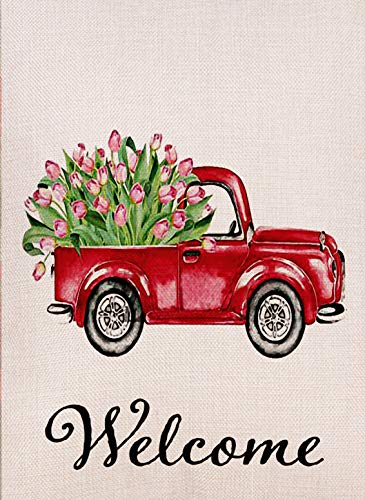(Dyrenson Decorative Love Valentine's Day Small Garden Flag Tulips Flower Double Sided Welcome Quote, House Red Truck Burlap Yard Decoration, Home Seasonal Outdoor Décor Flag 12.5 x 18 Spring Summer)
