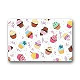 Mr. Six Custom Machine-Washable Door Mat Delicious Seamless Pattern With Cupcakes Indoor/Outdoor Decor Rug Doormat 23.6 x 15.7 Inches