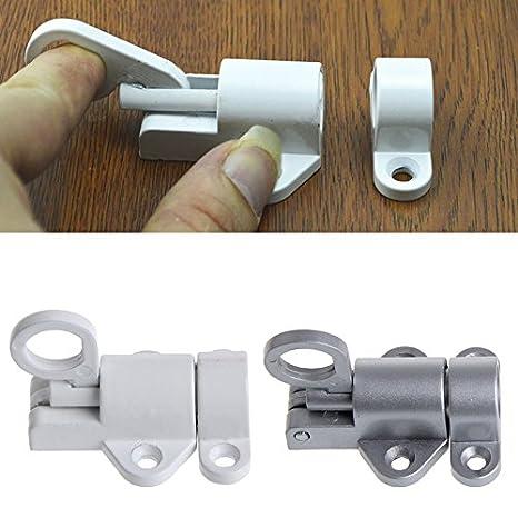 YUYUE21 1pc Cierre autom/ático de aleaci/ón de Aluminio Pestillo de la Puerta de Rebote Pestillo de Aluminio - Blanco