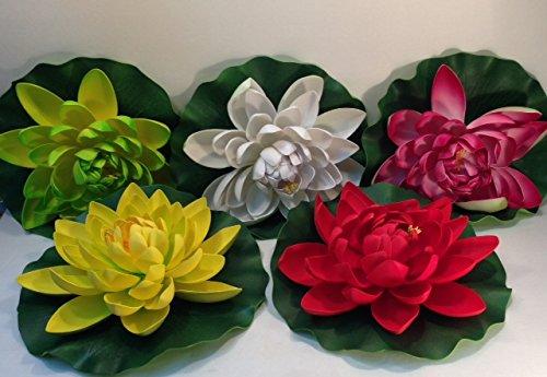 Set of Five Floating Lotus Lilys for Pool or Pond Decoration