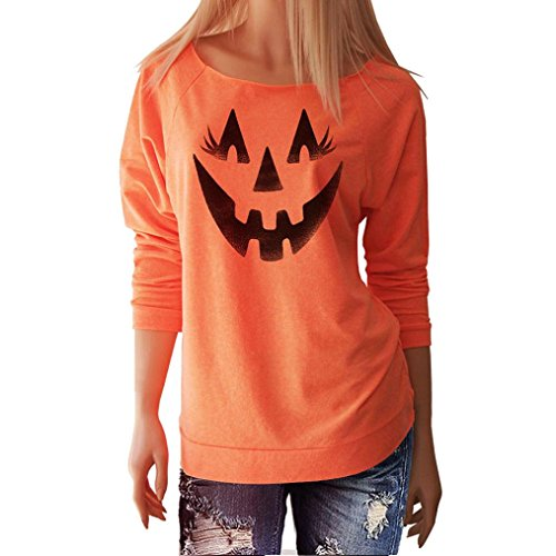 Gillberry Women Halloween Pumpkin Print Long Sleeve Pullover Tops Blouse Shirt (L, Orange (Halloween Shirts)