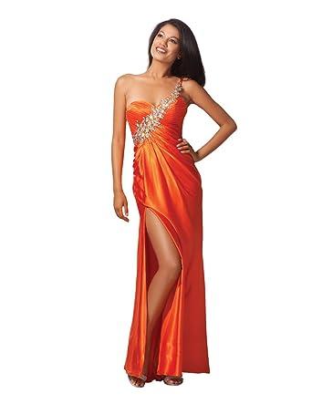 Clarisse One Shoulder Prom Dress 17148, Orange, 12