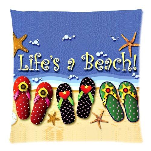 Summer Beach Flip Flops Starfish Life's a Beach Cushion Case
