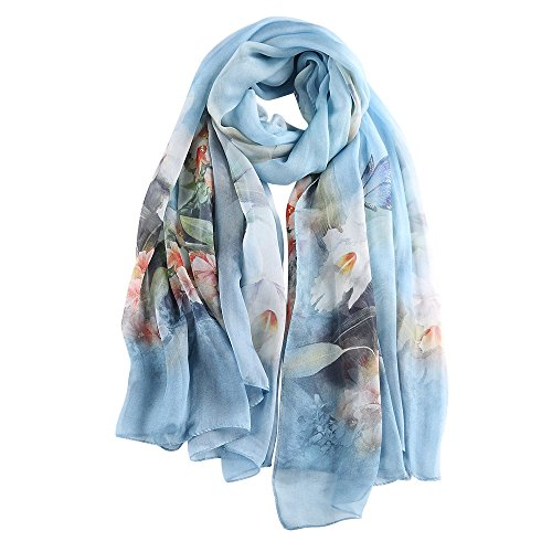 STORY OF SHANGHAI Womens 100% Mulberry Silk Head Scarf For Hair Ladies Silk Floral Scarf Gift for...