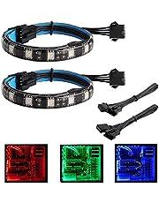 XUJJA Tiras de LED RGB: Tiras de LED for armarios de PC adaptados, Control de Placa Base, 12V 4pin RGB, Compatible con ASUS Halo, Asrock RGB LED, Gigabyte RGB Fusion, MSI Mystic Light