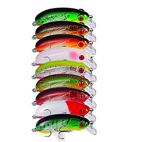 (9pcs Popper Fishing Lure 62mm 10g Wobblers Crankbait Artificial Baits with Feather Hooks Fishing Tackle)