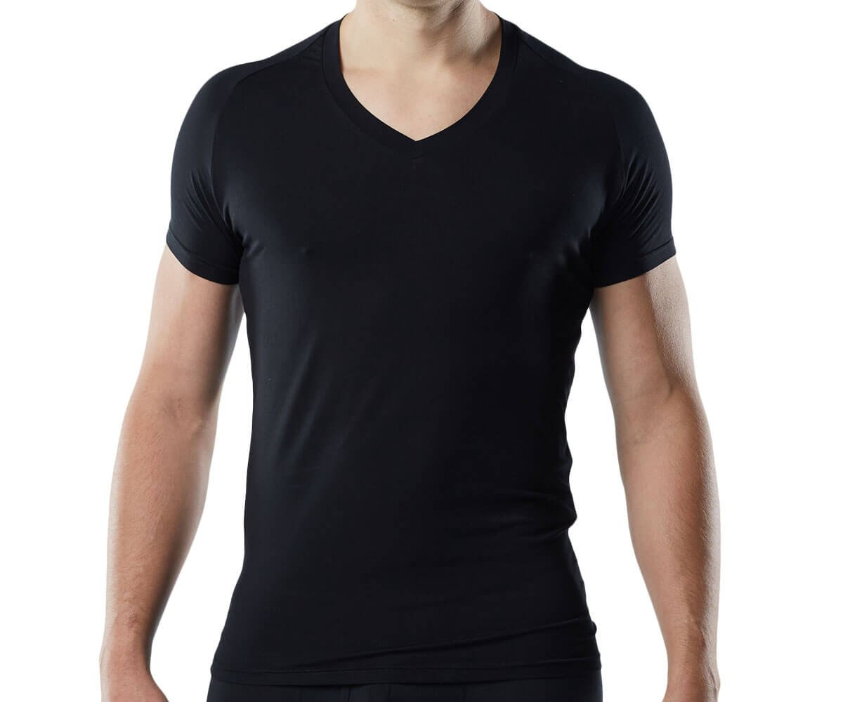 Mr. Davis Men's Bamboo Viscose Traditional Cut V Neck Undershirt, Black, Large 6 Pack