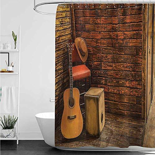 home1love Waterproof Bathtub Curtain,Music Music Instruments on Wooden Stage in Pub Beverage Cafe Counter Bar,Single stall Shower Curtain,W36x72L,Dark Orange Amber Sand ()