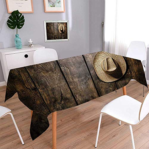 Rectangular Polyester American West rodeo country farmer traditional straw hat on distressed wood boards in a vintage Natural Rectangular Table Cloth for Indoor and Outdoor Use/Rectangle, 60x 84 Inch
