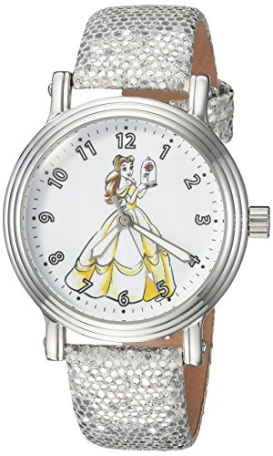 (DISNEY Women's Princess Belle Analog-Quartz Watch with Leather-Synthetic Strap, Silver, 16 (Model:)