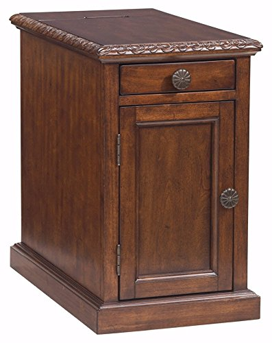 Ashley Furniture Signature Design - Laflorn Chairside End Table - Accent Side Table - Rectangular - Dark Brown (1 Cord Rack Wood 2)