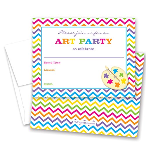 (MyExpression.com 24 Rainbow Chevron Art Party Fill-in Birthday Party)