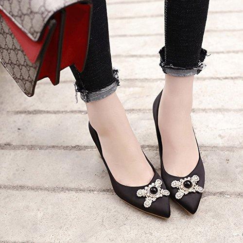 corte Carolbar negro talón de elegante zapatos Moda alto Moda Rhinestones 7Y7Uq