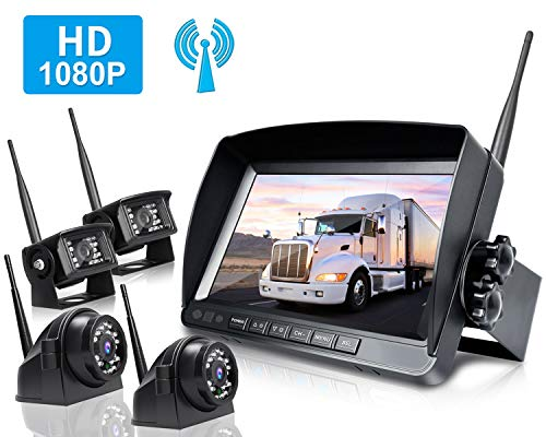"ZEROXCLUB Digital Wireless Backup Camera System Kit,HD1080P Wireless Reverse Rear Side View Camera,No Interference,IP69 Waterproof + 9"" LCD Wireless Monitor for RV/Truck/Trailer/Bus/Pickup/Van-W904"
