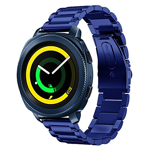 Balerion-Adjustable Solid Stainless steel Watch Band For Samsung Gear Sport with Durable Folding Clasp for Gear Sport-Blue