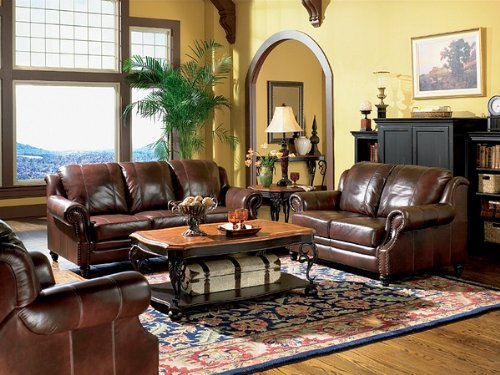 3pc Princeton Tri-Tone Burgundy Leather Sofa Loveseat & Recliner Chair Set