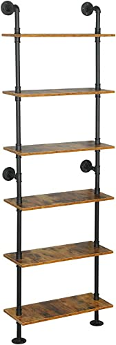 ZIOTHUM 6-Tier Industrial Pipe Shelves Shelf Shelving Rustic Wood Metal Wrought Iron Ladder Bookcase Bookshelf Wall Mounted Mount DIY Loft Vintage Floating Hanging Storage Display 23.6×9.8×78.7