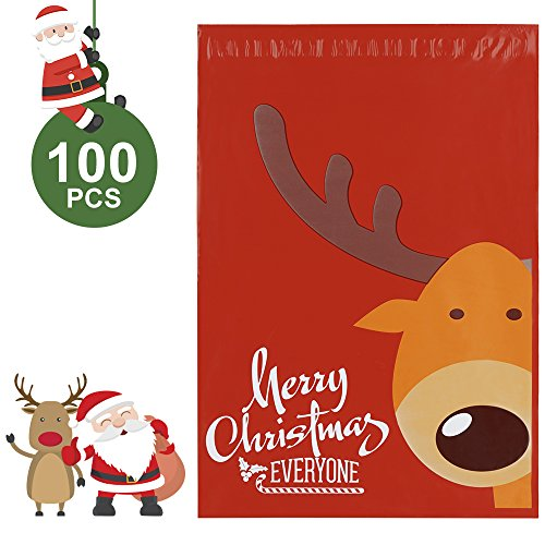 Metronic Poly Mailer Envelopes 100 10 x 13 Reindeer Designer Shipping Bags Gifts Boutique Custom Bags with Self Adhesive, Waterproof and Tear-proof Postal Printed Bags