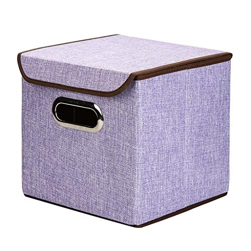 (LDG Storage Bins [3-Pack] Flax Cloth Foldable Cubes Organizer Storage Box Drawers with Lid - Gray for Office Bedroom (Color : Purple))