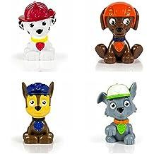 Bundle of Four Paw Patrol Mini Figures - Chase, Marshall, Zuma and Rocky