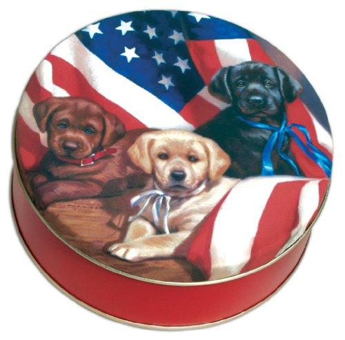 Scott's Cakes Peanut & Pretzel Brittle in a Mini Patriotic Dogs Tin