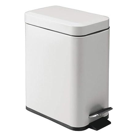 gris mate mDesign Cubo de basura rectangular Compacto contenedor de residuos con cubeta interior para oficina ba/ño o dormitorio Moderna papelera de metal y pl/ástico 5 litros