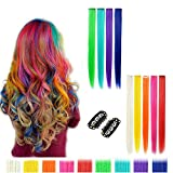 18pcs 22inch Straight Colored Clip In On Synthetic Hair Extensions for Girls Party Multiple color