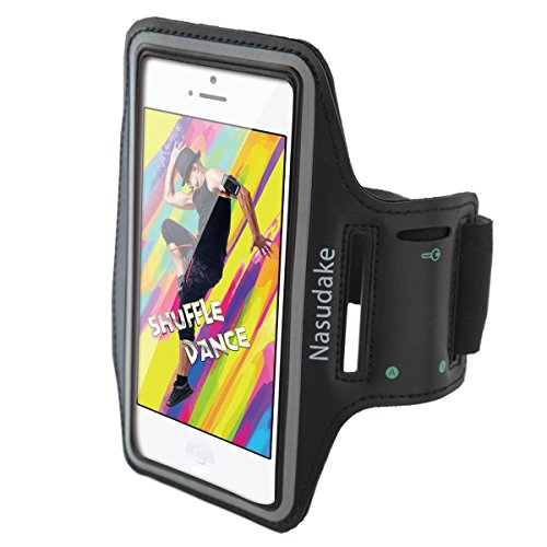 """Nasudake iPhone Armband for Running Sports Workout, Adjustable Cell Phone Water Resistant & Sweatproof 5.5"""" Screen Protector with Key Holder for iPhone X/8/8 Plus/7/7 Plus, Samsung Galaxy S6/S7, Note (Armband Neoprene Digital)"""