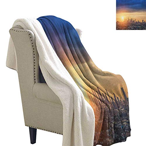 City Fleece Blanket Sunrise at Los Angeles Urban Architecture Tranquil Scenery Majestic Sky Light Thermal Blanket 60x47 Inch Navy Blue Apricot Ivory]()