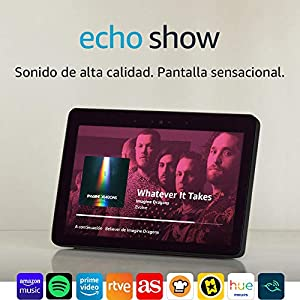 Echo Show (2.ª generación) – Sonido de alta calidad y sensacional pantalla HD de 10 pulgadas, negro +Bombilla Philips Hue White LED E27
