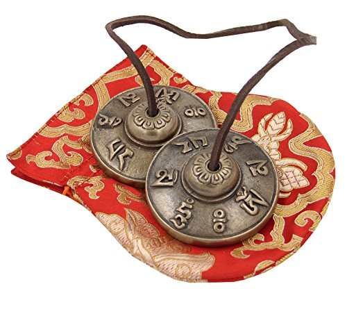 """DharmaObjects Tibetan Premium Quality Om Mani Padme Hum Tingsha Cymbals 2.25"""" With Pouch"""