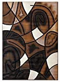 Masada Rugs, Modern Contemporary Area Rug, Brown Beige Black (8 Feet X 10 Feet)