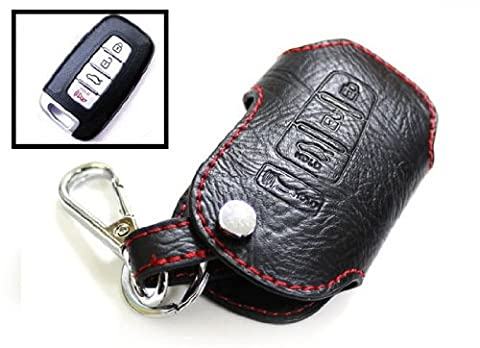 iJDMTOY 4-Button Remote Smart Key Geniune Leather Fob Case Holder Cover For Kia Optima Forte Sportage Soul (Remote Start 2014 Hyundai)