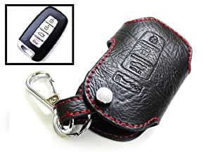 iJDMTOY 4-Button Remote Smart Key Geniune Leather Fob Case Holder Cover For Kia Optima Forte Sportage Soul etc