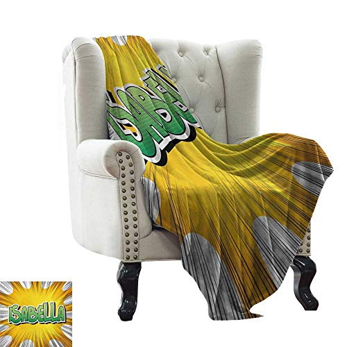 - Faux Fur Throw Blanket Isabella,American Birth Name on Retro Style Fun Cartoon Backdrop Poster Design,Yellow Green and White All Season Light Weight Living Room/Bedroom 60