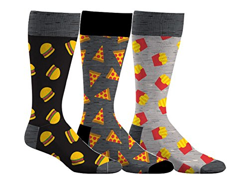 Sporticus Men's Fun & Colorful 3-Pack Dress Socks (Burgers & - Beer Burger