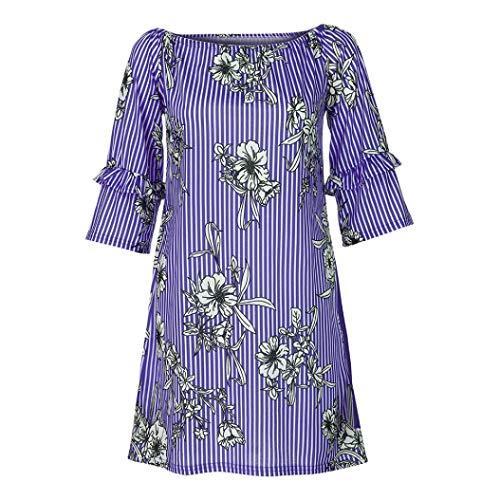 Sunhusing Women Ladies Cropped Sleeve Stripe Print Long T-Shirt Ruffle Short Sleeve ()