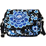 Goodhan Vintage Printed Handmade Women Mini Crossbody Bag Cellphone Pouch Small Handbag Coin Purse (Style 08: BIGGER VERSION - Blue)