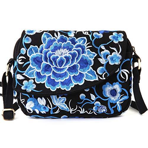 (Goodhan Vintage Printed Handmade Women Mini Crossbody Bag Cellphone Pouch Small Handbag Coin Purse (Style 08: BIGGER VERSION - Blue))